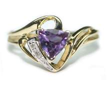 2065 075 CT DIA  AMETHYST  230 GR 10K GOLD  RING