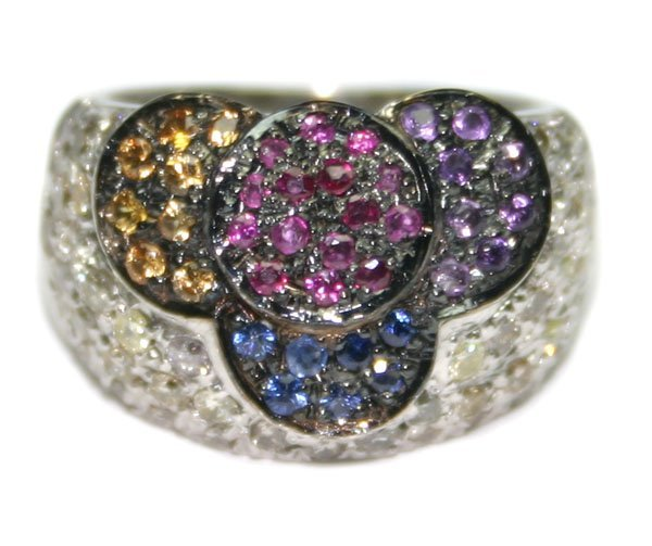 4514: 2.50 CT MULTI COLOR GEM  13  GR 14KT GOLD RING .