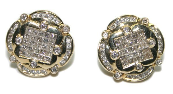 1201: 2.CT DIAMOND INVISIBLE 14kt GOLD EARRINGS.
