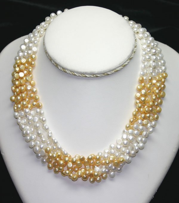 4023: 6mm  GOLD & WHITE NATURAL PEARLS NECKLACE 16'' IN
