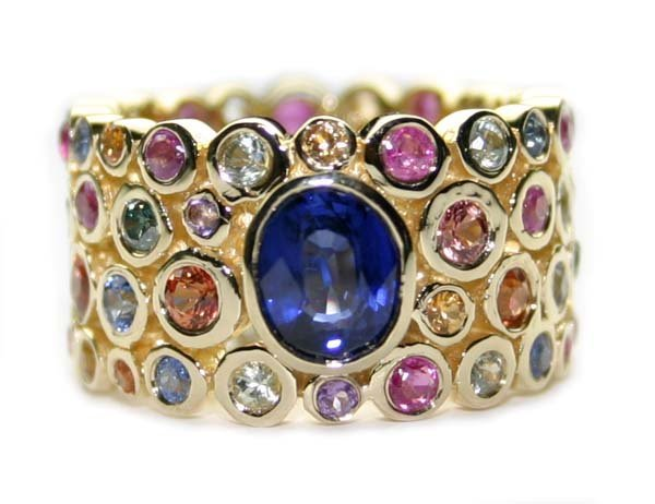 4385: 8 CT BLUE DIA & MULTI COLOR GEM 18K 12 GR  RING .