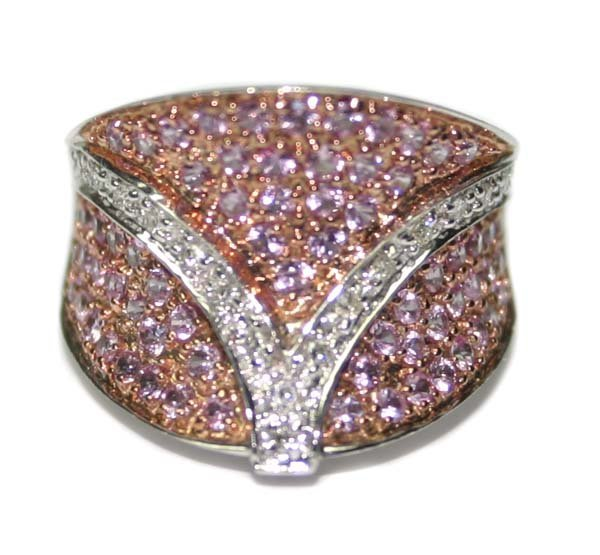 1708: 4.CT DIA & PINK SAPPHIRE 9.70 GR 14K GOLD RING.