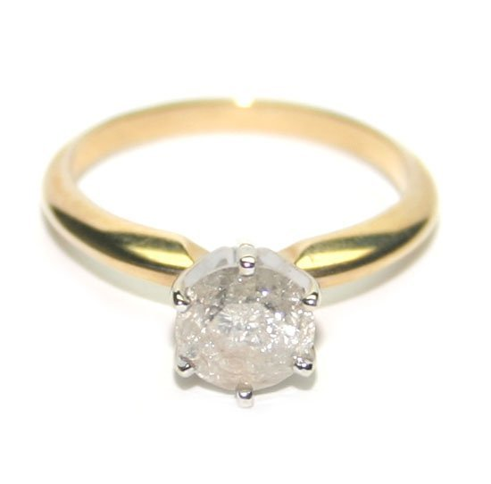 3007: GENUINE 1,CT DIAMOND  SOLITER GOLD RING .