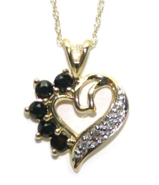 4005: 0.40 CT DIAMOND & SAPPHIRE GOLD HEART PENDANT .