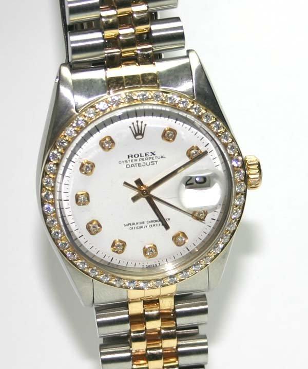 5157: MAN'S ROLEX DIAMOND DIAL & BEZEL 2-TONE DATE WATC
