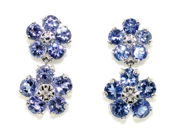 3008: GENUINE 2,CT DIAM & TANZANITE 10KT GOLD EARRINGS.
