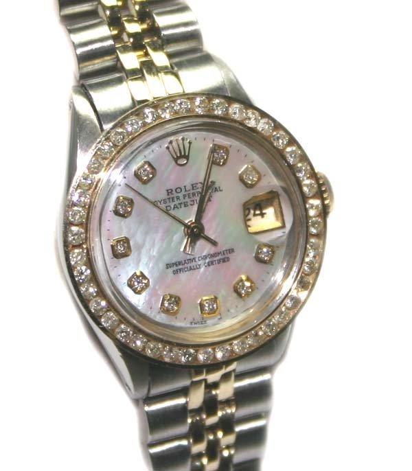 5695: LADY'S ROLEX DIAMOND DIAL & BEZEL 2-TONE DATE WAT