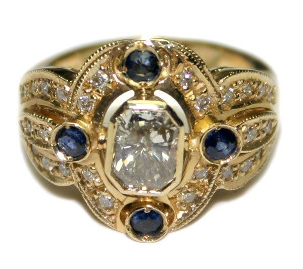 1581: 1.50 CT DIAMOND & SAPPHIRE 8.20 GR 14KT GOLD RING