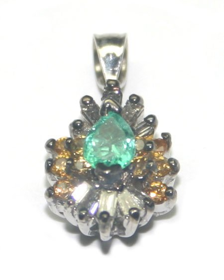 2000: 1.50 CT MULTI COLOR GEM 14KT GOLD PENDANT.