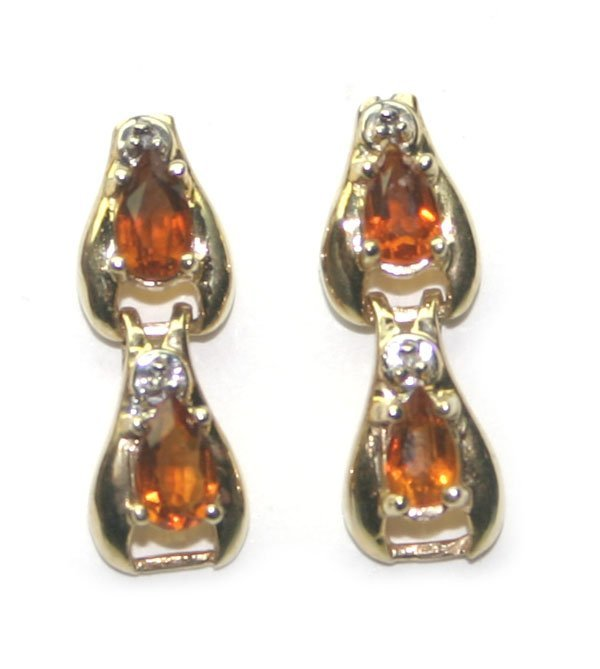 2009: 1.20 CT DIAMOND & CITRIN 14KT GOLD EARRINGS.