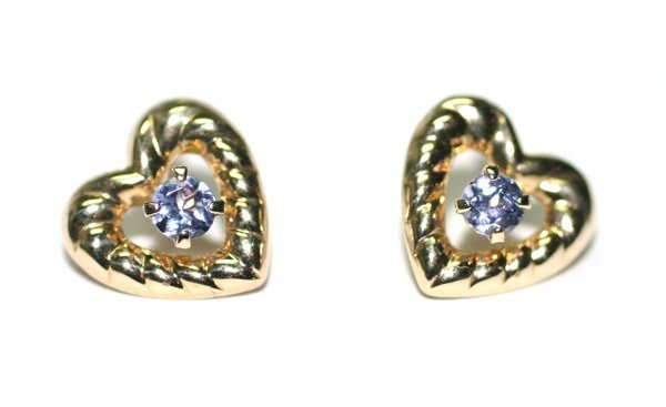 2093: BEAUTIFUL HEART SHAPE TANZANITE EARRINGS