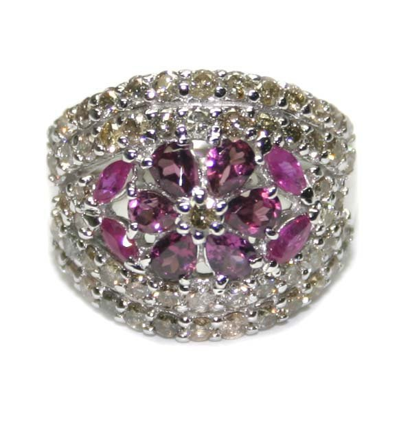 5005: 2.30 CT DIAMOND-TOURMALINE & RUBY 18K GOLD RING.