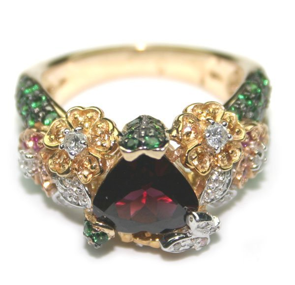 5017: 8,CT MULTI COLOR  GEM 13.80 GR 14KT GOLD RING .