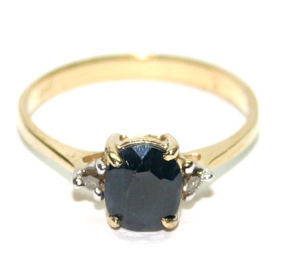 3000: 1.50 CT DIAMOND & SAPPHIRE GOLD RING .