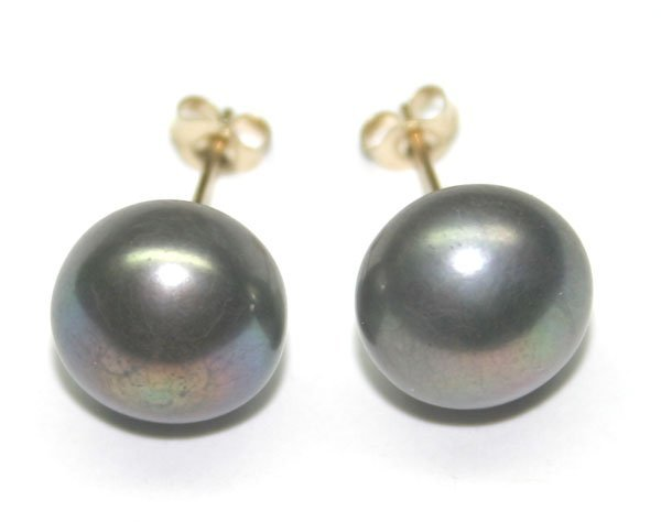 4010: 10mm  NATURAL PEARL  14 KT GOLD EARRINGS.