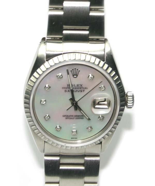3400: MAN'S ROLEX DIAMOND DIAL STEEL DATE JUST WATCH .