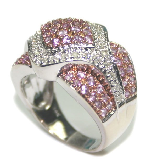1008: 2 CT DIAMOND & P,SAPPHIRE 7.40 GR 14KT GOLD RING.