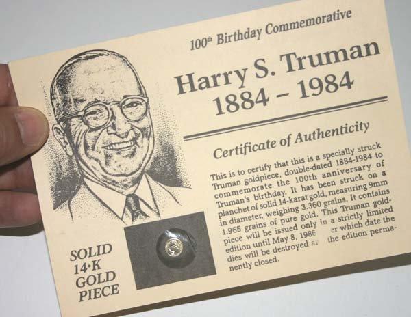 5824: SOLID 14.K GOLD PIECE (Harry S.Truman ) commemora