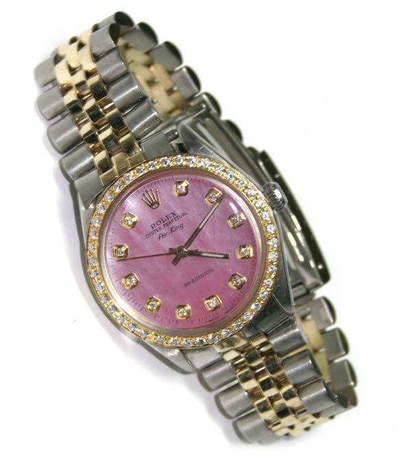 3063: MAN'S ROLEX DIAMOND DIAL & BEZEL 18K-STEEL  AIR K
