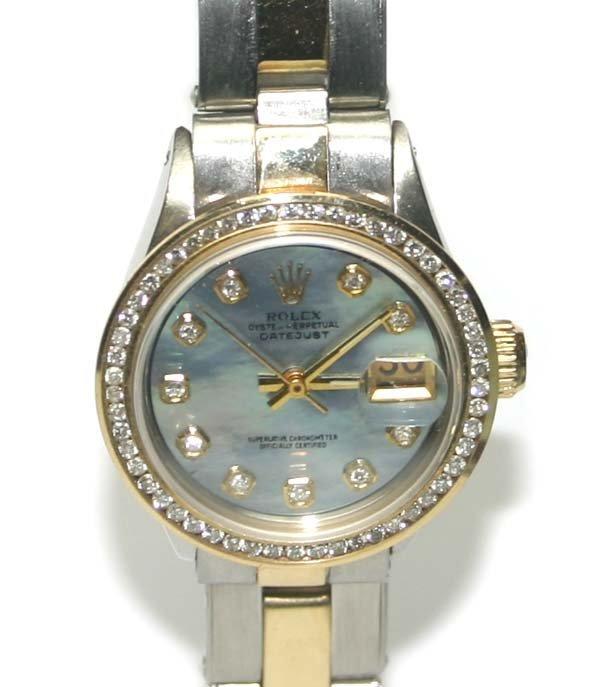 3089: LADY'S ROLEX DIAMOND DIAL & BEZEL 18K-STEEL DATE
