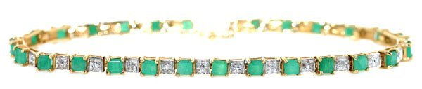 5003: 6 CT EMERALD & DIAMOND 7GR 10 KT GOLD BRACELET.