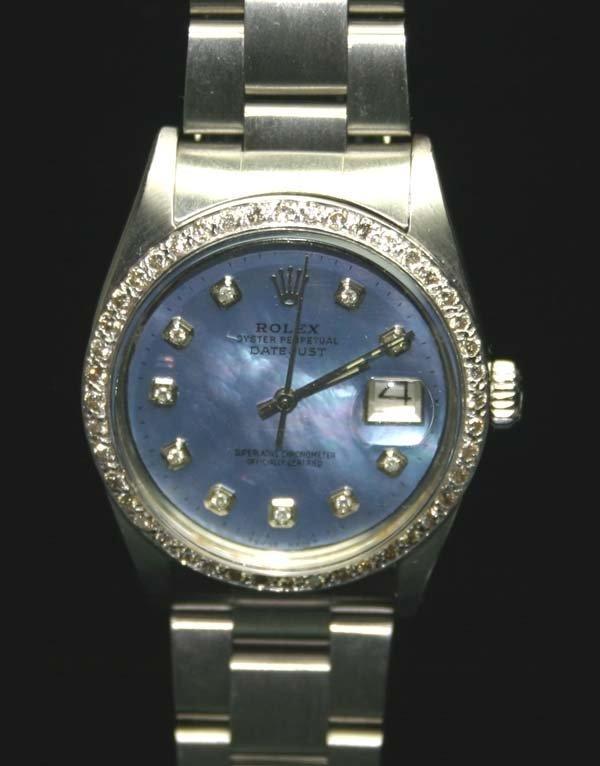 5017: MAN'S  ROLEX DIAMOND DIAL & BEZEL SS DATE WATCH .