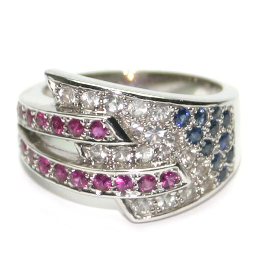 3014: 1.50 CT DIAMOND-RUBY-SAPPHIRE 14KT GOLD RING.