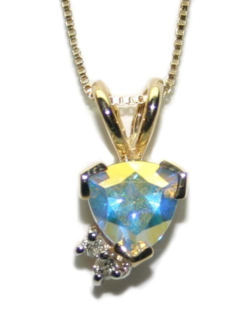 1000: 1 CT MISTIC TOPAZ AND DIA 10K GOLD  PENDANT.