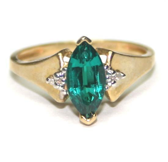 1014: DIAMOND & LAB  EMERALD  10K GOLD RING .