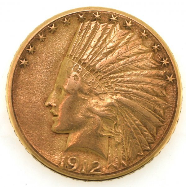 3039: US  $10 XR  GOLD  COIN  INDIAN  1912  .