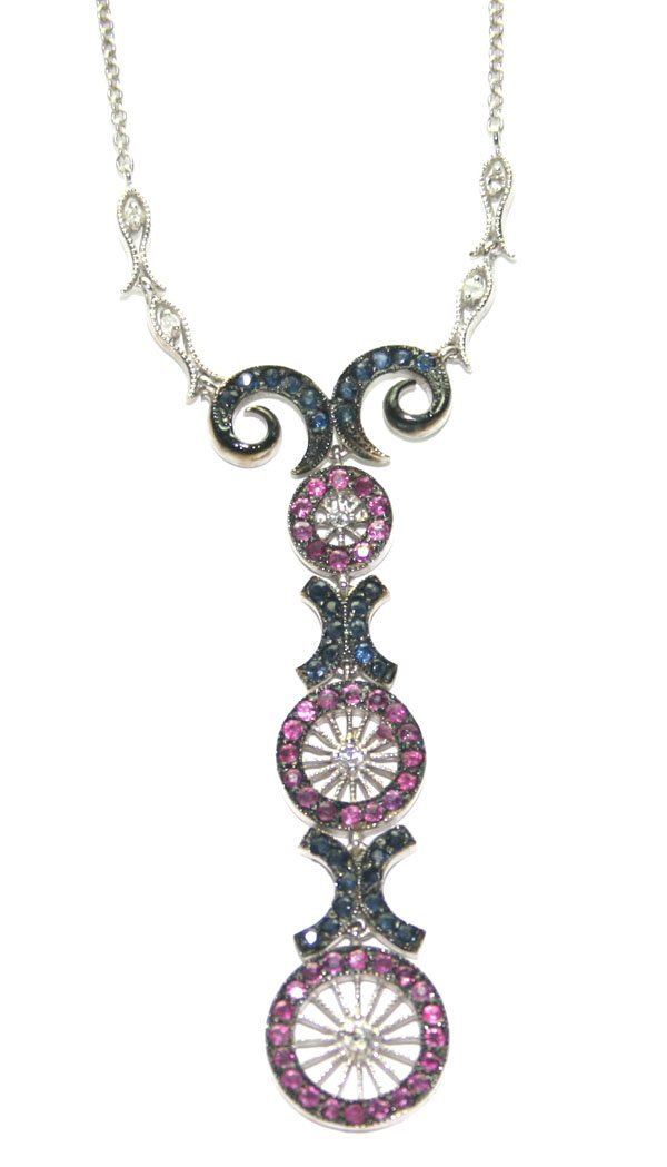 3120: 2,CT DIAMOND,RUBY,SAPPHIRE 14KT GOLD NECKLACE.