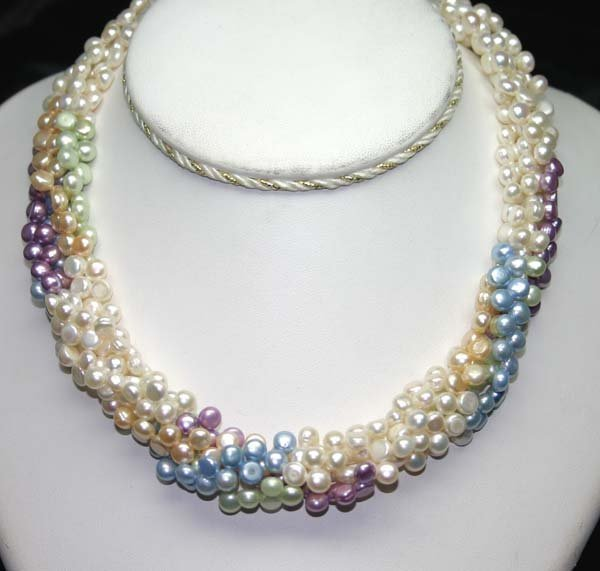 4015: 5 mm MULTI COLOR NATURAL PEARLS NECKLACE 16'' INC
