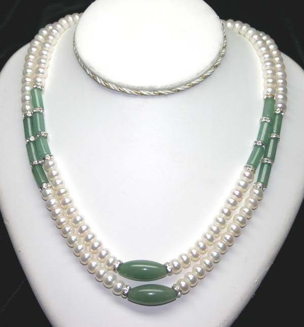 8: 7mm FRESH WATER PEARLS & JADE NECKLACE 38'' INCHES.