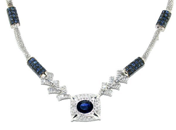 11: 11 CT DIAMOND & SAPPHIRE 32.40 GR 14KT GOLD NECKLAC
