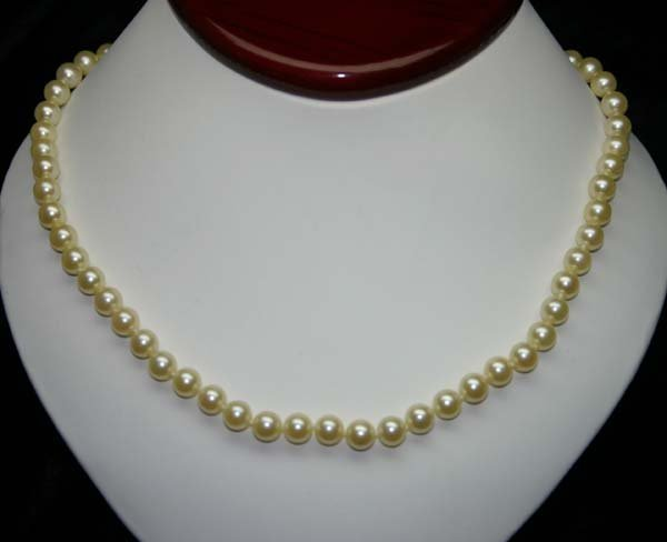 1001: 14KT & 6.5-7 mm GOLDEN PEARL NECKLACE 17'' INCHES