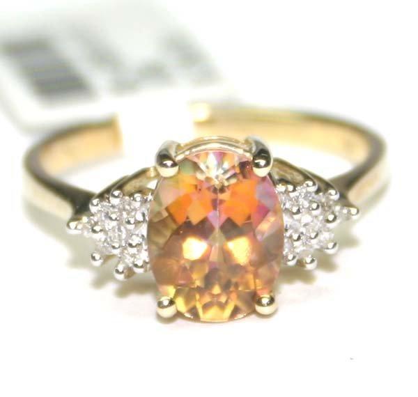 2009: 2,CT DIAMOND & MYSTIC TOPAZ 10K GOLD RING .