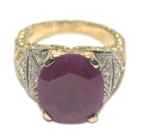 2011: 15,CT RUBY & DIAMOND  8.80 GR 14KT GOLD RING.