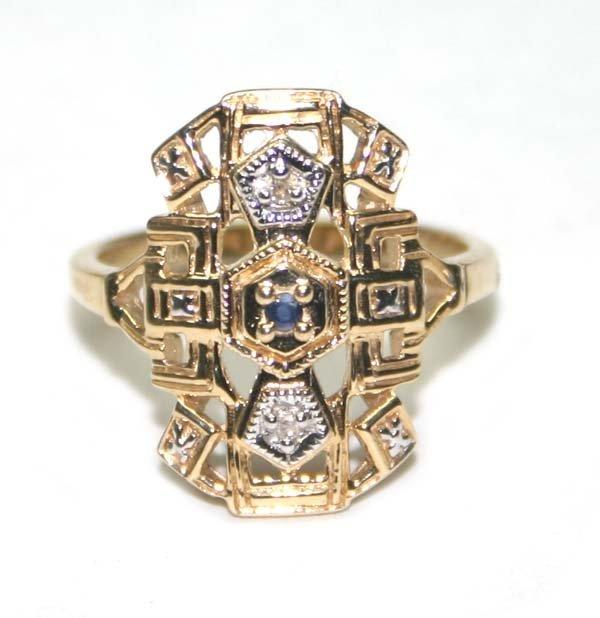 3003: DIAMOND & SAPPHIRE ANTIQUE DESIGN 14K GOLD RING.