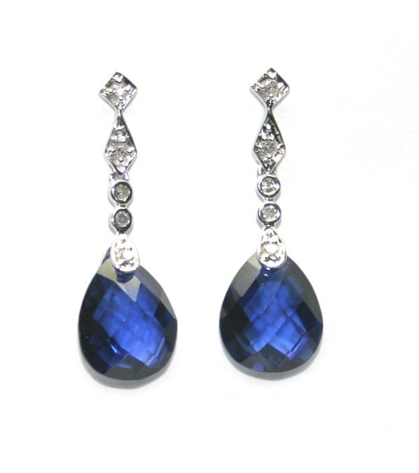 5002: 7,CT DIAMOND & LAB SAPPHIRE 10K GOLD EARRINGS.