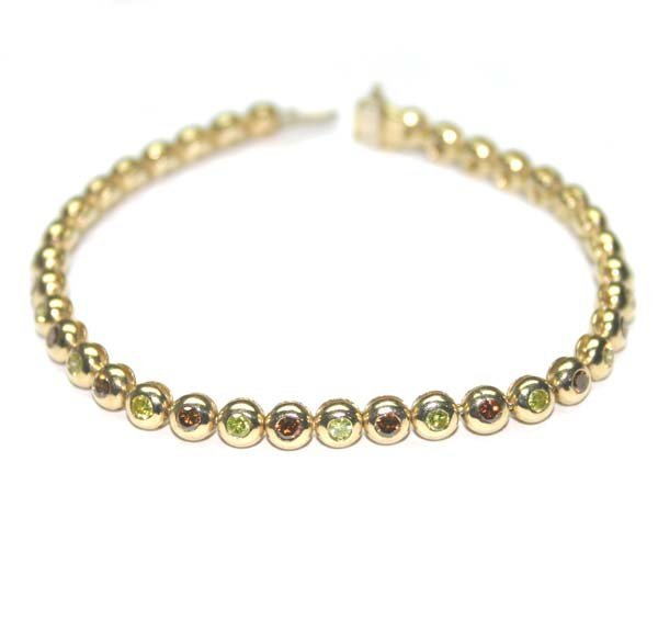 5013: 2.50 CT MULTI COLOR DIAMOND 14K GOLD BRACELET 17