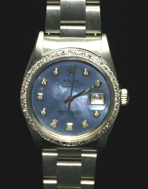 5017: MAN'S  ROLEX DIAMOND DIAL & BEZEL SS DATE WATCH .