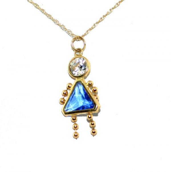 1001: Lab white and blue sapphire pendant