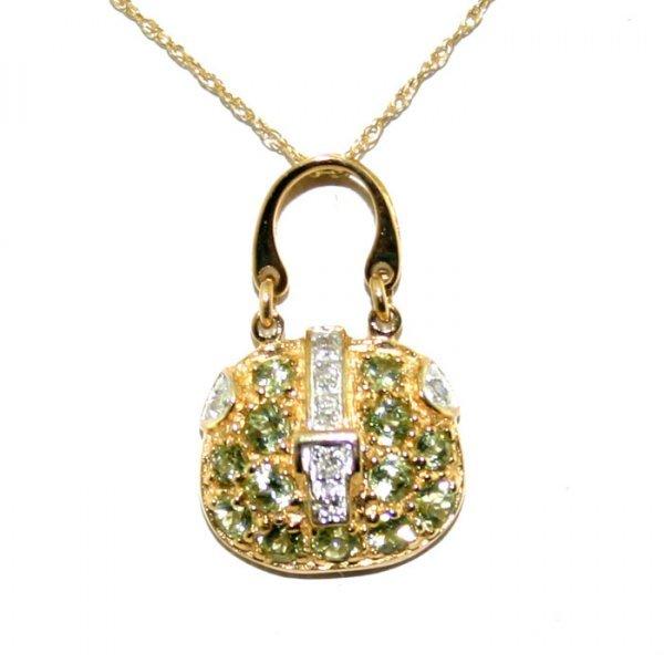 1002: Diamond and Peridot Gold Purse