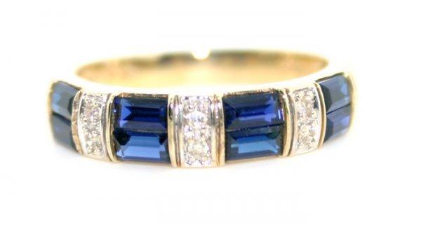 1004: Diamond and Lab Sapphire Gold Ring