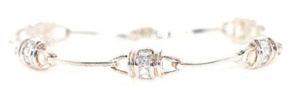 1008: 4 ct Lab White Sapphire Silver Bracelet