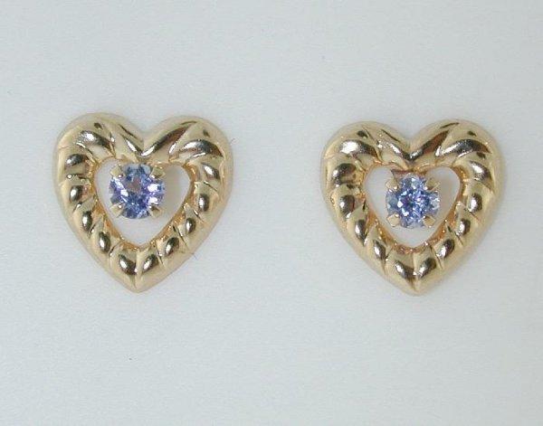 1016: BEAUTIFUL HEART SHAPE TANZANITE EARRINGS