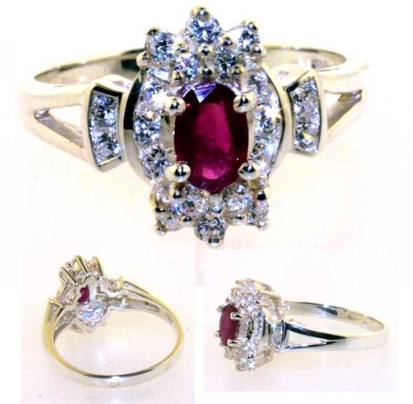 1022: 1 CT LAB SAPP AND RUBY SILVER