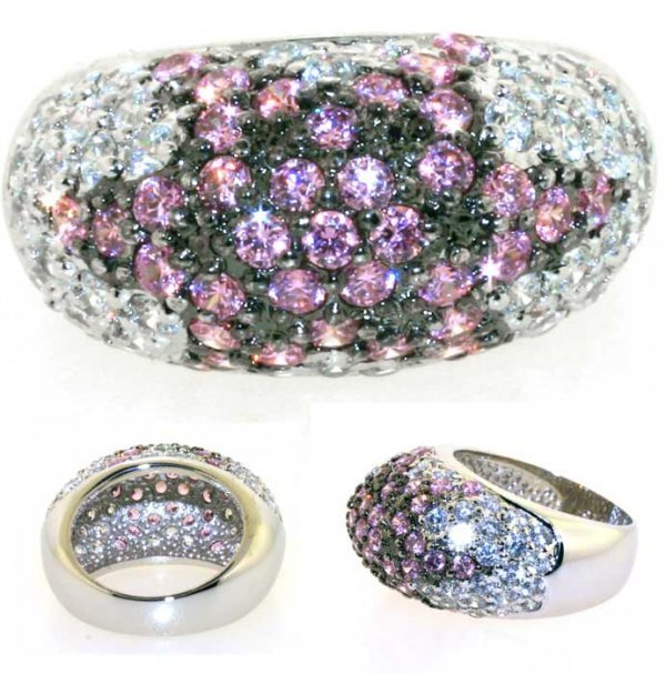1023: 4 CT LAB PINK AND WHITE SAPP SILVER