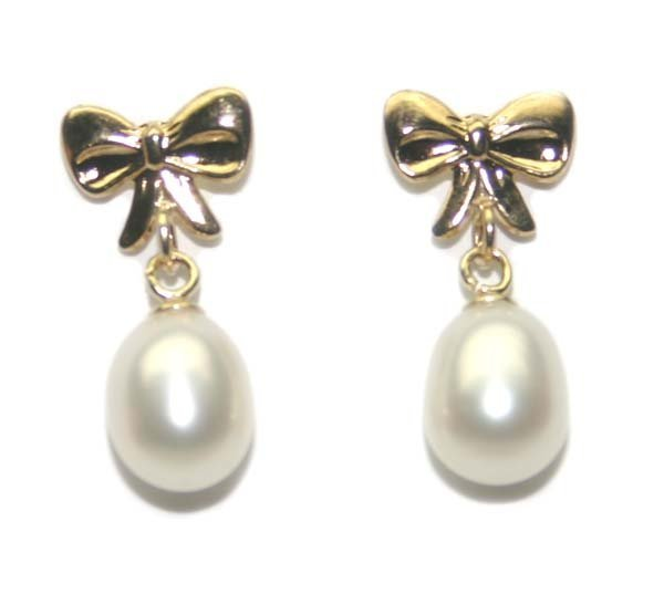 2020: 7 mm  PEARLS  14K GOLD RIBBON POST  EARRING.
