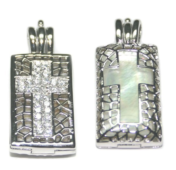 4003: MOTHER-OF-PEARL & LAB SAPPH SILVER CROSS PENDANT.